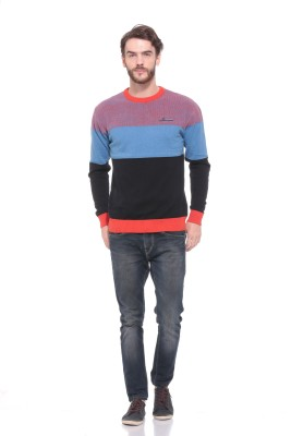 Pro Riders Striped Round Neck Casual Men's Black, Light Blue, Orange Sweater