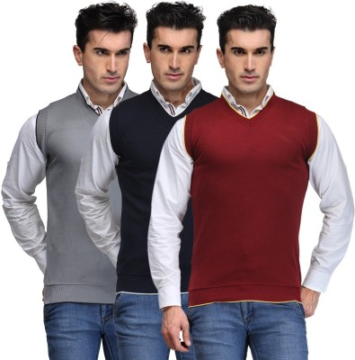 TSX Solid V-neck Casual, Party, Formal Men's Grey, Blue, Maroon Sweater