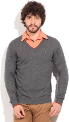 Arrow Sports Solid V-neck Casual Men's Grey Sweater