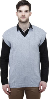 Unixx Solid V-neck Casual Men's Grey Sweater