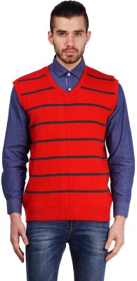 True Life Striped V-neck Casual Men's Red Sweater
