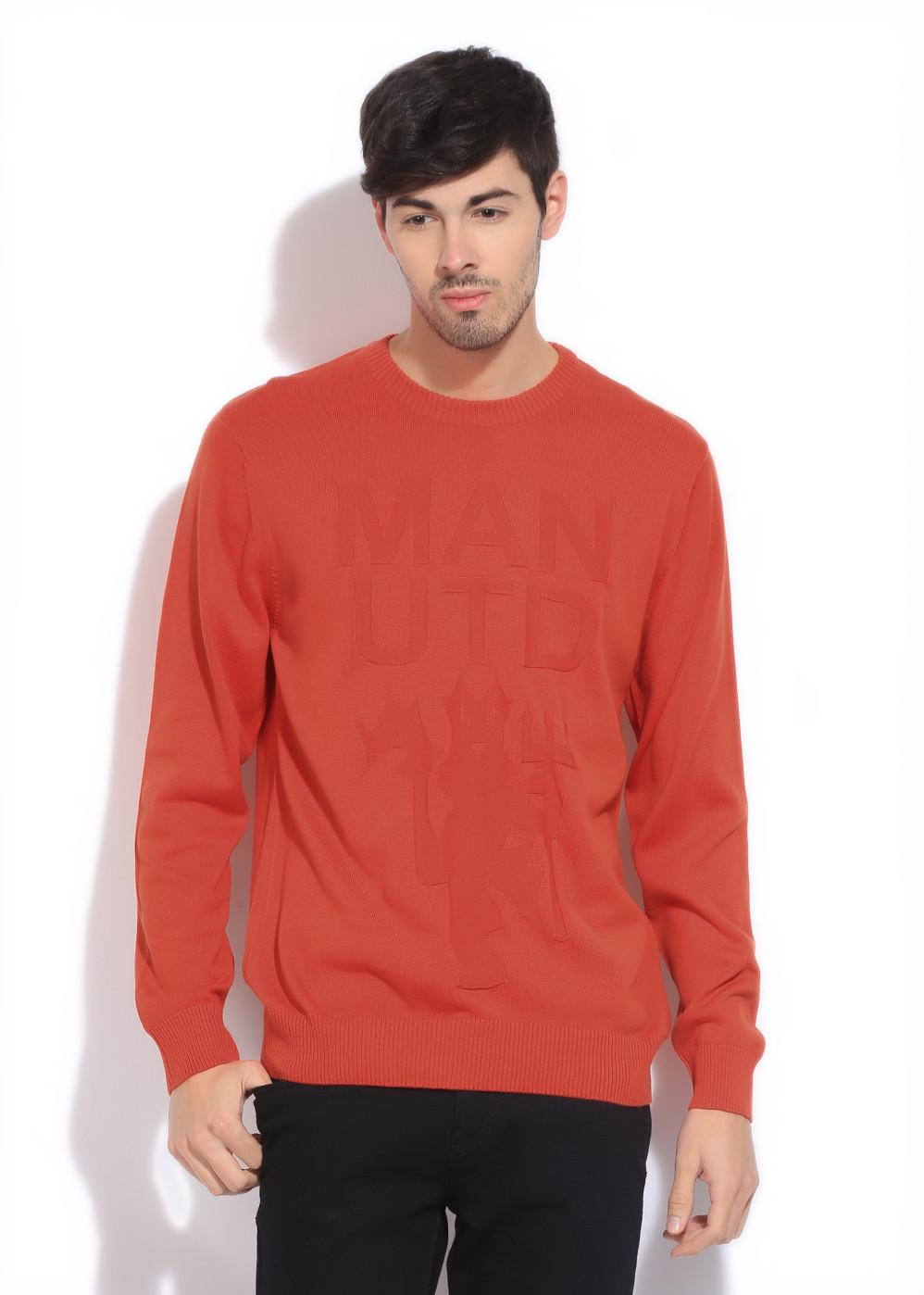 Manchester United Solid Casual Men Orange Sweater