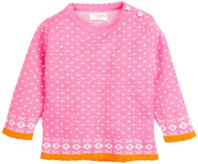 Mom & Me Printed Round Neck Casual Girl's Pink Sweater