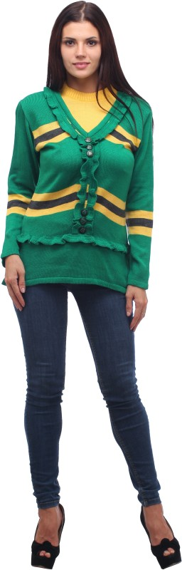Stylistry Striped V-neck Casual Women Green Sweater