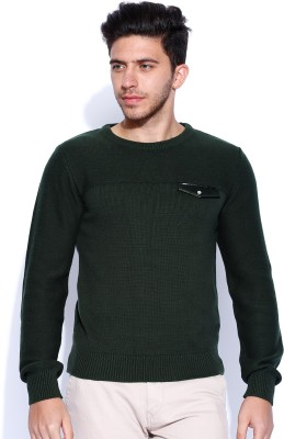 Roadster Solid Round Neck Men's Green Sweater