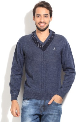 John Players Solid V-neck Casual Men's Blue Sweater