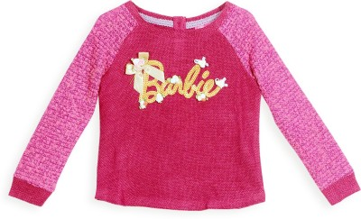 Barbie Embellished Round Neck Casual Girl's Purple Sweater