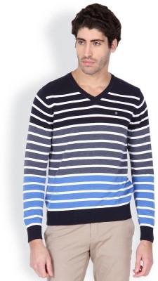 Blackberrys Striped V-neck Men's Dark Blue Sweater
