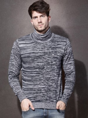 Roadster Self Design Turtle Neck Casual Mens Sweater