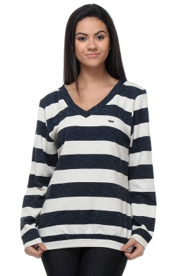 Kaxiaa Striped V-neck Casual Women's Blue Sweater
