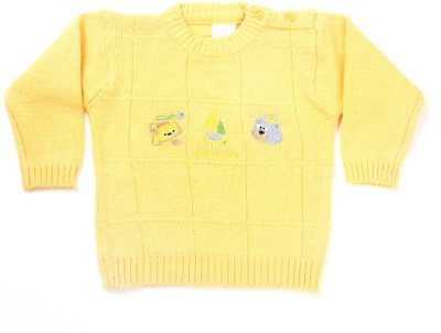 Zonko Style Self Design Round Neck Casual Boy's Yellow Sweater