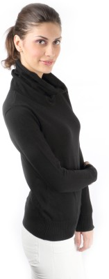 Again Solid Turtle Neck Casual Women's Black Sweater