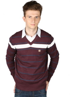 Again Striped V-neck Casual Men's Maroon Sweater