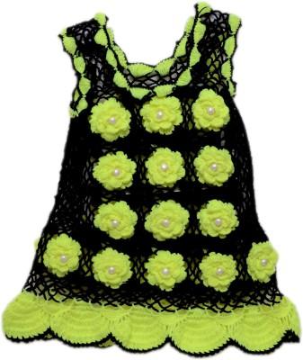 AV Embroidered Round Neck Casual Girl's Black, Light Green Sweater