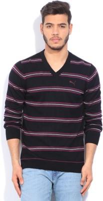 Puma Striped V-neck Casual Men Black, Grey, Purple Sweater