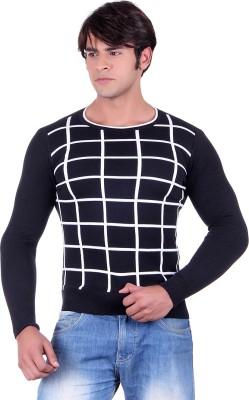 Ogarti Checkered Round Neck Casual, Party, Festive Men,s Black Sweater