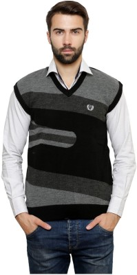 Leebonee Geometric Print V-neck Casual Men's Black Sweater
