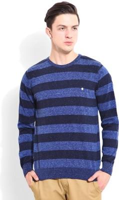 Blackberrys Striped Round Neck Men's Dark Blue Sweater