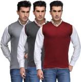 TSX Solid V-neck Casual Men Grey, Grey, ...