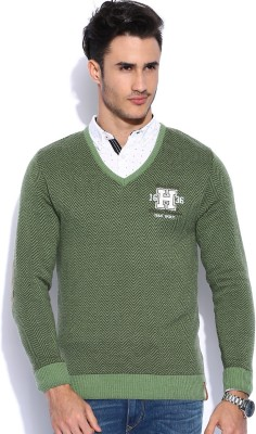 Harvard Self Design V-neck Casual Men's Green Sweater