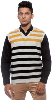 Sports 52 Wear Striped V-neck Casual Men's Reversible Yellow Sweater