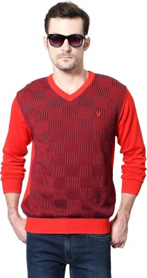 Allen Solly Geometric Print V-neck Casual Men's Red Sweater