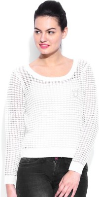 Kook N Keech Disney Self Design Round Neck Casual Women's White Sweater
