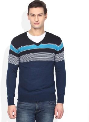 Numero Uno Striped V-neck Casual Men's Blue, Black Sweater