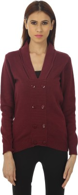 Remanika Solid V-neck Casual Women's Maroon Sweater
