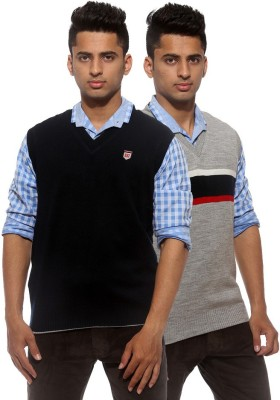 Sports 52 Wear Striped V-neck Casual Men's Reversible Grey Sweater