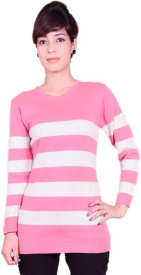 Cee-For Striped V-neck Casual Women's Pink, White Sweater