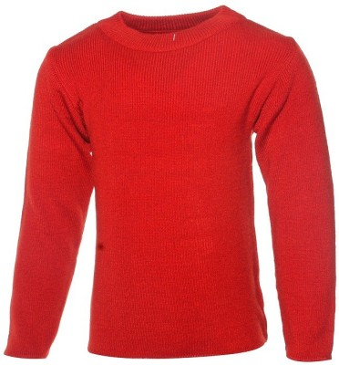 Babeezworld Solid Round Neck Casual Girl's Red Sweater
