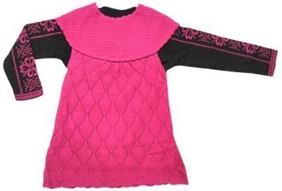 Ten by Ten Self Design Round Neck Casual Girls Pink Sweater