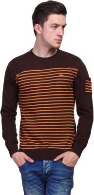 TSAVO Striped Round Neck Casual Men's Brown Sweater