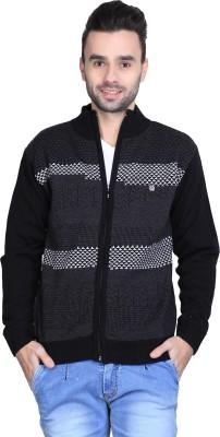 BRAVEZI Self Design Round Neck Casual Men,s Black, Grey, White Sweater