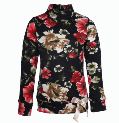 Cutecumber Floral Print Round Neck Party Girl's Black Sweater