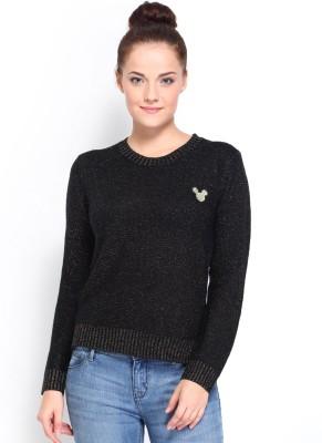 Kook N Keech Disney Solid Round Neck Casual Women's Black Sweater