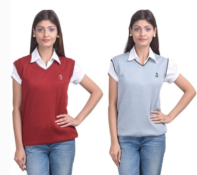 Eprilla Solid V-neck Casual, Formal, Festive Women's Multicolor Sweater