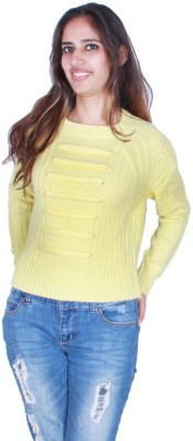 GnC Solid Round Neck Casual, Formal, Sports, Party Women's Yellow Sweater