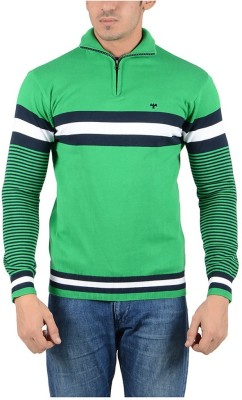 Reveller Striped Turtle Neck Casual Men's Green Sweater