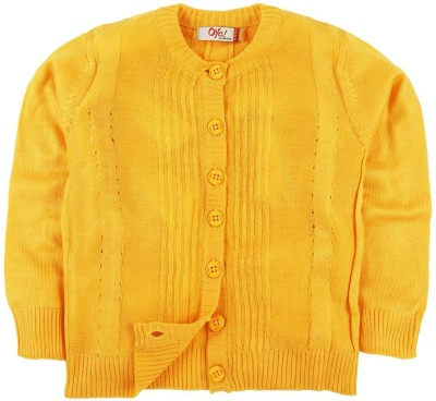Oye Solid Round Neck Casual Boy's Yellow Sweater
