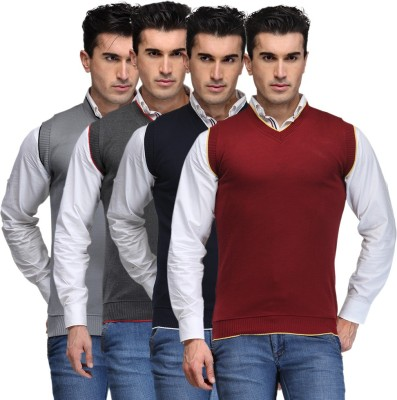 TSX Solid V-neck Casual, Party, Formal Men's Grey, Grey, Blue, Maroon Sweater