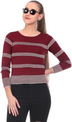 Saiints Striped Crew Neck Casual Women's Maroon Sweater