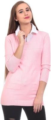 Saiints Solid Crew Neck Casual Women's Pink Sweater