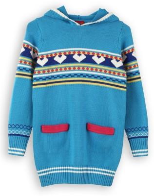 Lilliput Self Design Turtle Neck Casual Girl's Blue Sweater