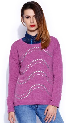 Noble Faith Self Design Round Neck Casual Women's Pink Sweater