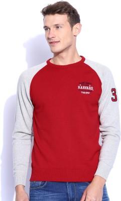 Harvard Solid Round Neck Men's Red Sweater