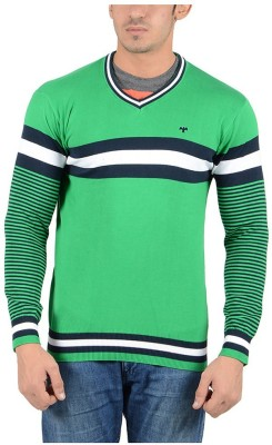 Reveller Striped V-neck Casual Men's Light Green Sweater