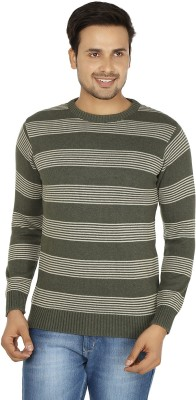 Fizzaro Striped Round Neck Casual Men's Grey, White Sweater