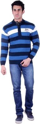 SIOUX Solid Round Neck Men's Blue Sweater